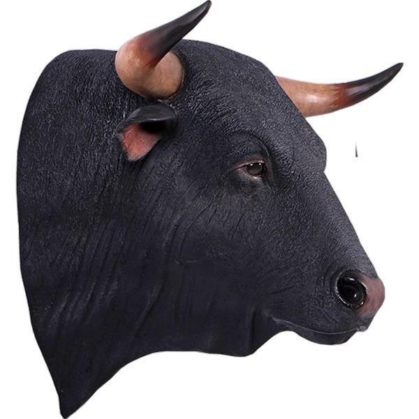 黒毛牛の頭部・壁掛け FRPアニマルオブジェ 即納可 frps