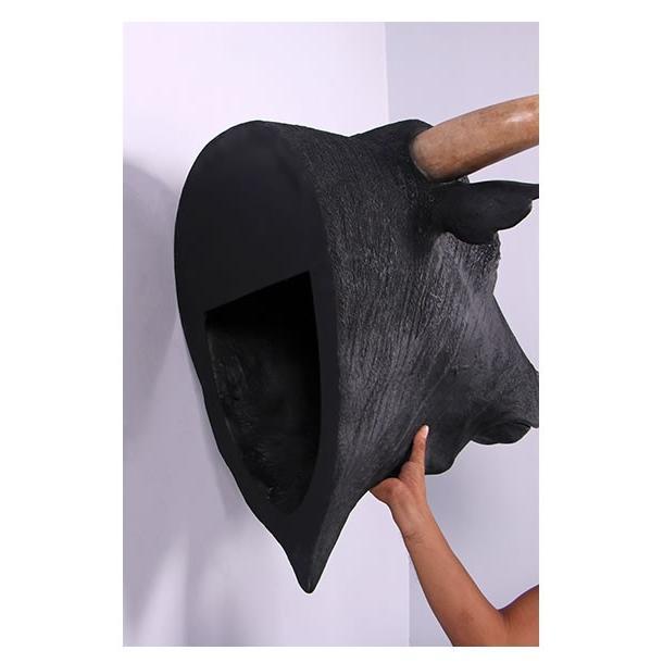 黒毛牛の頭部・壁掛け FRPアニマルオブジェ 即納可 frps 05