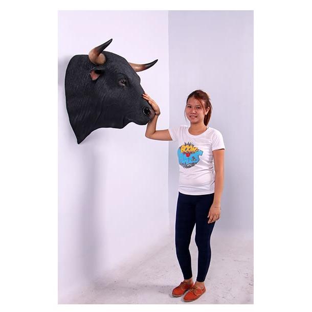 黒毛牛の頭部・壁掛け FRPアニマルオブジェ 即納可 frps 06