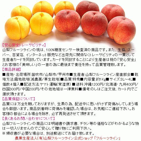 桃 山梨 お中元ギフト フルーツ 特産品 白鳳 白桃 黄金桃 硬い桃 特秀 1kg 送料無料 一部地域を除く|fruits-line|02