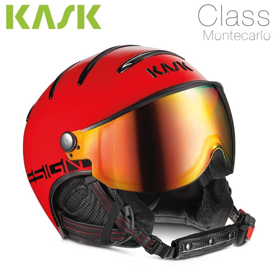 KASK(カスク)ゴーグル付ヘルメット「ヘルメットバイザーCLASS Montecarloモンテカルロ」赤(SHE00033.225)【全国送料無料】