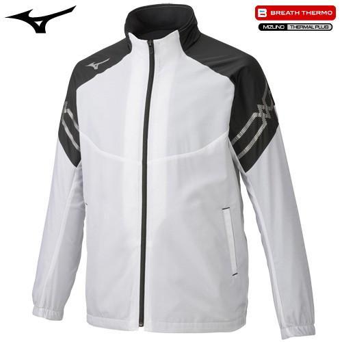 ミズノ MIZUNO ブレスサーモジャケット ホワイト×ブラック×シルバー L