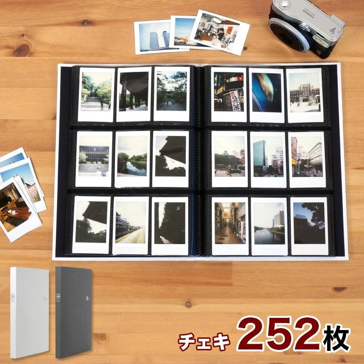WEB限定品 往復送料無料 ナカバヤシ セラピーカラー チェキサイズ 252枚収納 布表紙 1年保証 TCPK-INS-252 9面ポケット 3列×3段タイプ ホワイト グレー