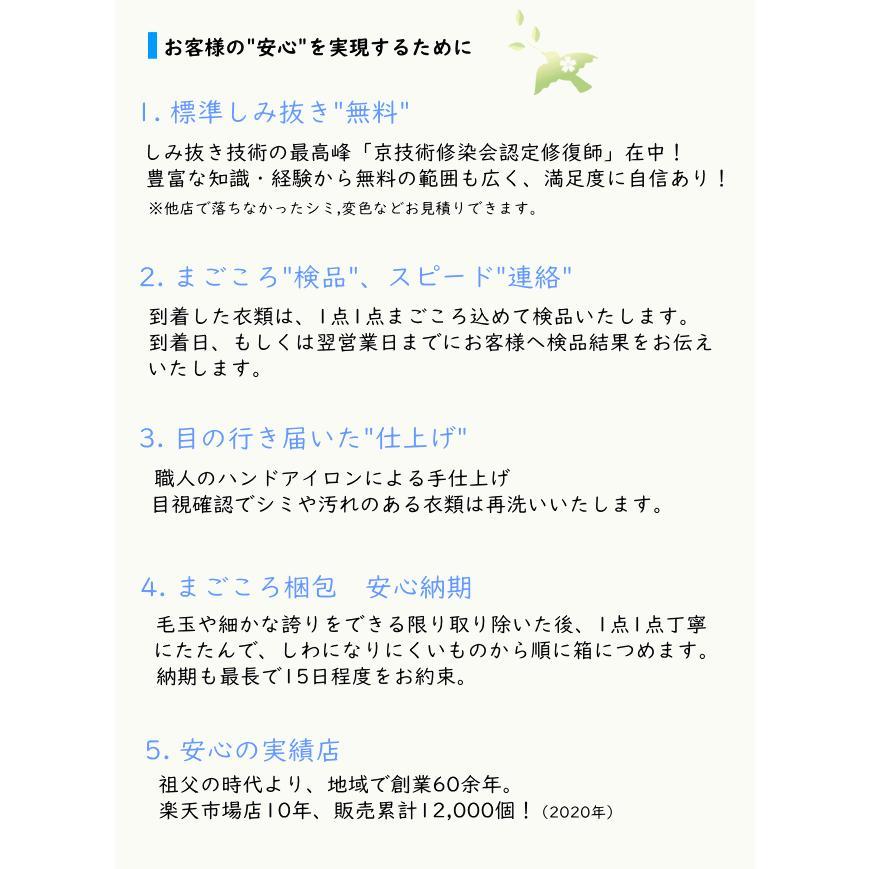 クリーニング 宅配  詰め放題 7点まで Sサイズ集荷バッグ しみ抜き 衣替え 関東〜九州 送料無料|fujicleaning|11