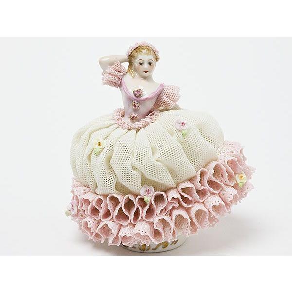 【送料無料】アイリッシュ ドレスデン/IRISH DRESDEN レースドール ピンク(婦人)陶器人形 irish-02/お茶のふじい·藤井茶舗