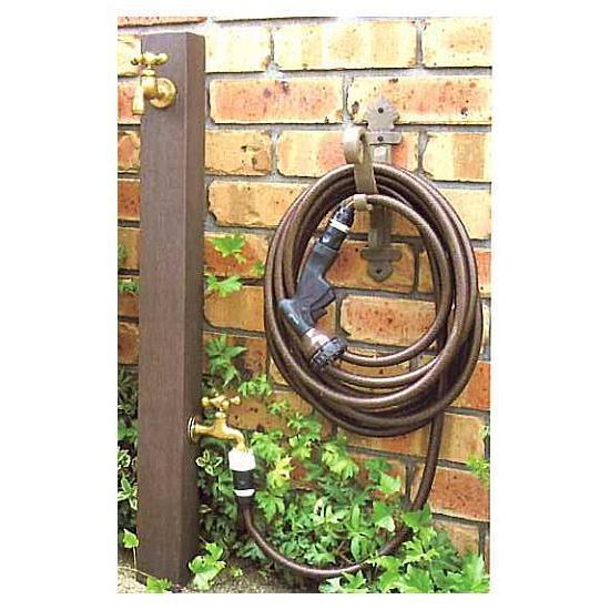 立水栓 ウォータースタンド TypeA (二口タイプ 蛇口2個付) ホースハンガー付 ディーズガーデン おしゃれ 立水栓 水栓柱 軽くて丈夫なFRP製 水道 送料代引き無料