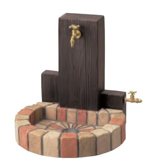 水栓柱 立水栓ユニット ウッドクリートタイプ  ·補助蛇口仕様  ·パン(丸型)  ni