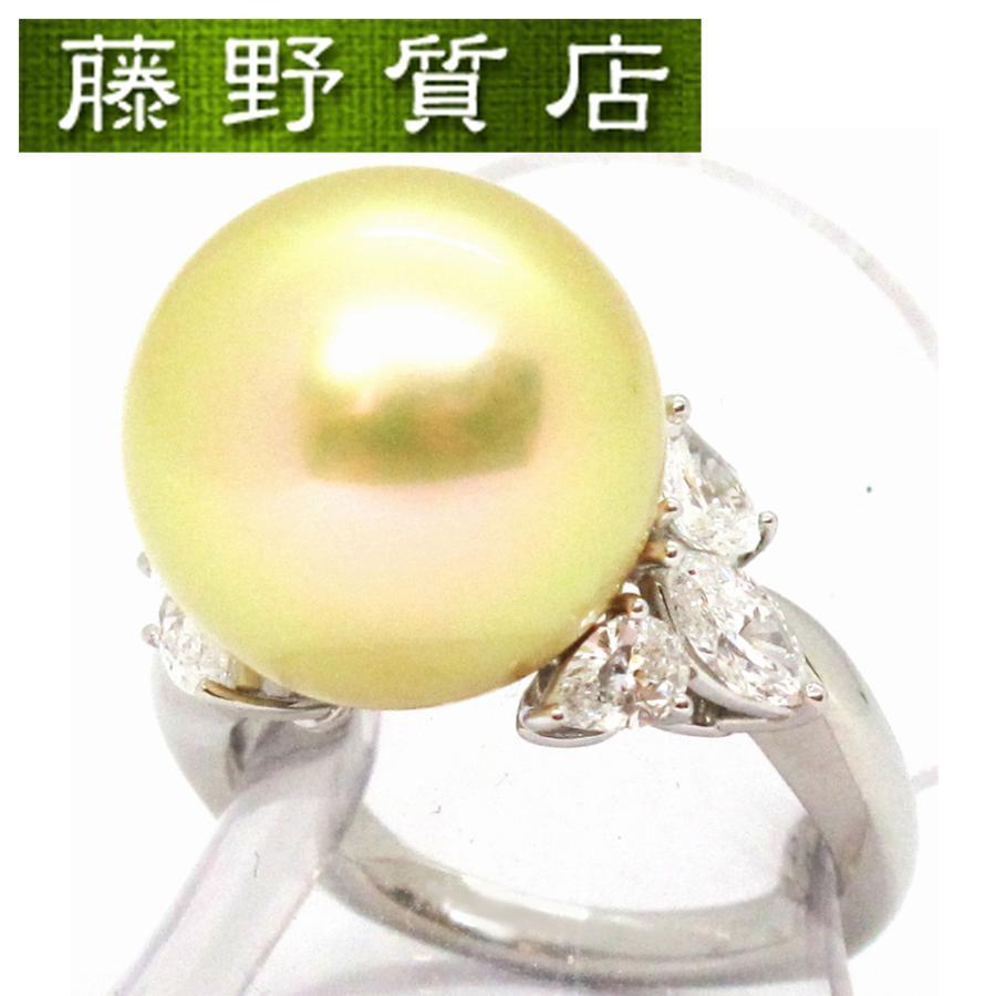 輝く高品質な 希少 ミキモト MIKIMOTO ゴールデンパール ダイヤリング 14.3mm玉 #11.5(約11.5号) プラチナ950×ダイヤモンド6石(1.00ct)×ゴールデンパール 9033, きもの阿波和 374d19b7