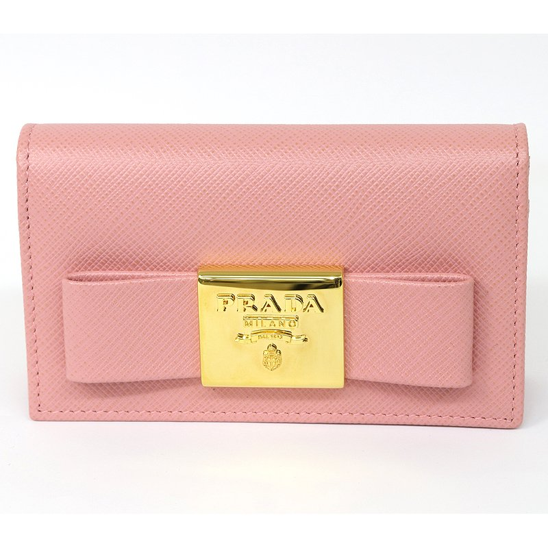 PRADA プラダ カードケース 名刺入 ピンク リボン 1MC122 2AEE (質屋 藤千商店)|fujisen78