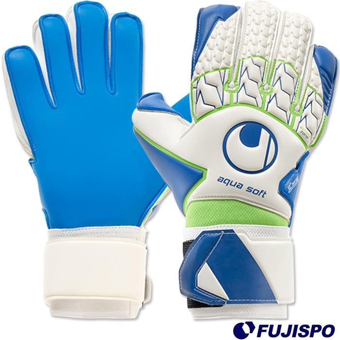 ウールシュポルト アクアソフト(1011072-01) キーパーグローブ キーパー手袋 ホワイト×パシフィックブルー×フローグリーン ウールシュポルト(uhlsport)