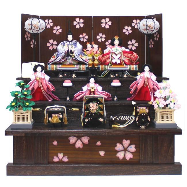 雛人形 五人飾り 三段飾り 『十番親王飾り くり抜き桜柄屏風三段セット』