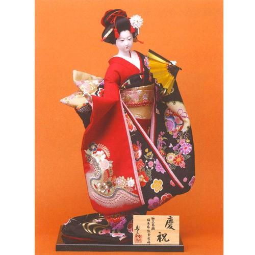 日本人形 尾山人形 極上本頭  『寿喜代作 慶祝 衣裳金彩 扇 12号』