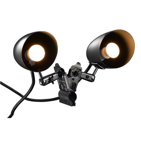 YAZAWA(ヤザワコーポレーション) 防雨型クリップライト 2灯タイプ E17 電球付属 CWW40W02GM