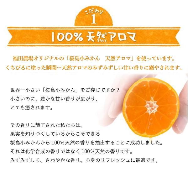 お試し 送料無料 馬柚(馬油) リップクリーム 乾燥対策 天然アロマ 桜島小みかん|fukuda-farm|11