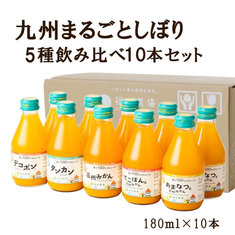 みかんジュース ストレート 飲み比べ5種180ml×10本セット ギフト 九州まるごとしぼり 九州 国産 fukuda-farm