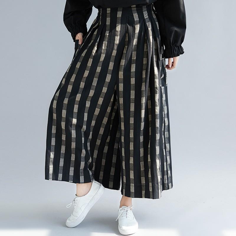 ガウチョパンツ パンツ コットン レディース ズボン ウェストゴム 大きいサイズ ポケット付き チェック柄 ゆったり スカンツ スカーチョ 春 夏 30代 40代 50代 fukumarufukumaru 05
