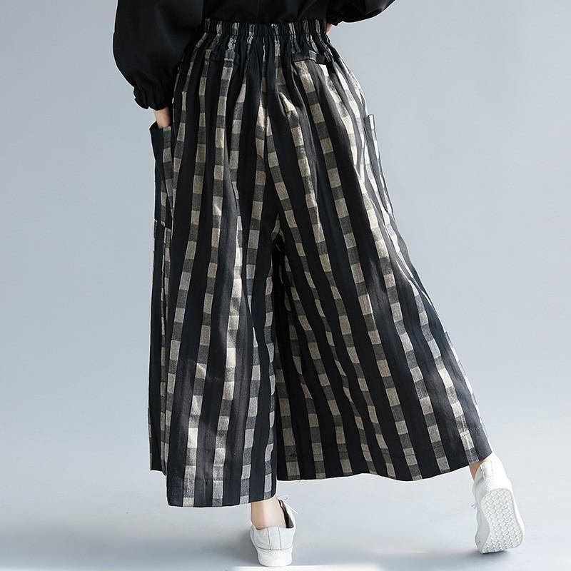 ガウチョパンツ パンツ コットン レディース ズボン ウェストゴム 大きいサイズ ポケット付き チェック柄 ゆったり スカンツ スカーチョ 春 夏 30代 40代 50代 fukumarufukumaru 06