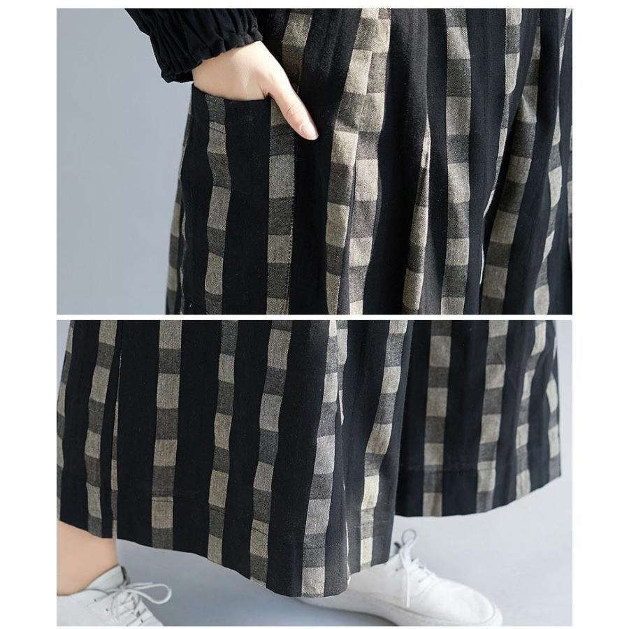 ガウチョパンツ パンツ コットン レディース ズボン ウェストゴム 大きいサイズ ポケット付き チェック柄 ゆったり スカンツ スカーチョ 春 夏 30代 40代 50代 fukumarufukumaru 08