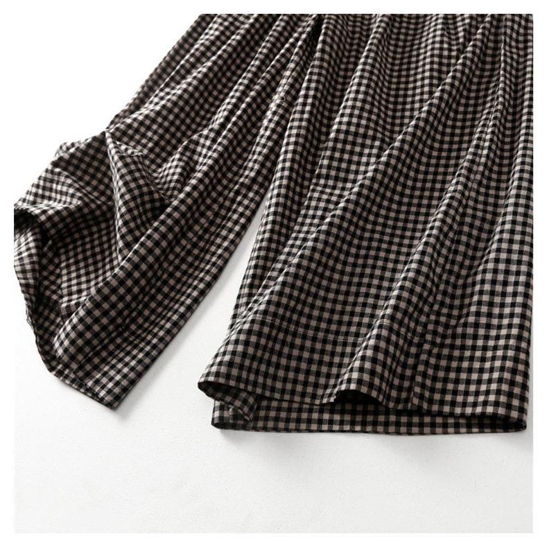 パンツ ワイドパンツ ボトムス スカーチョ ガウチョ スカンツ レディース チェック柄 ガウチョパンツ 大きいサイズ ロングパンツ ゆったり 体型カバー|fukumarufukumaru|09