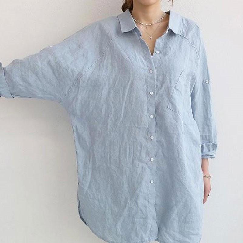 シャツ ブラウス シャツブラウス ロングシャツ レディース トップス チュニック 長袖 体型カバー 大きいサイズ Vネック ゆったり 綿麻風 無地 30代 40代 fukumarufukumaru 06