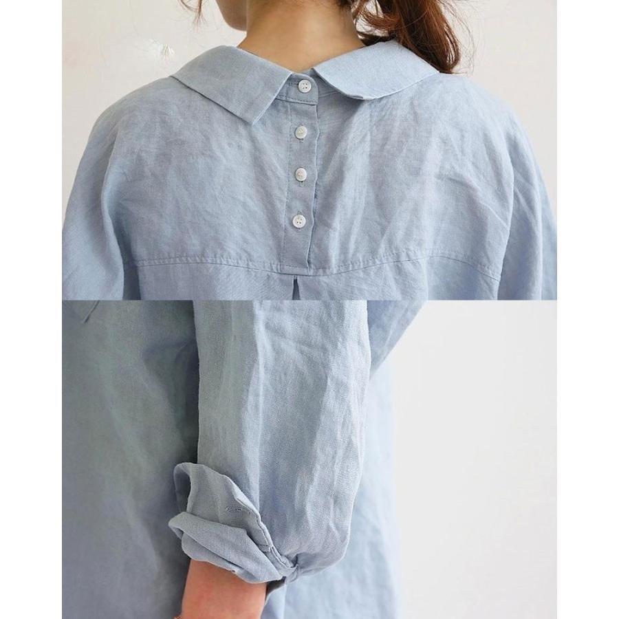 シャツ ブラウス シャツブラウス ロングシャツ レディース トップス チュニック 長袖 体型カバー 大きいサイズ Vネック ゆったり 綿麻風 無地 30代 40代 fukumarufukumaru 09