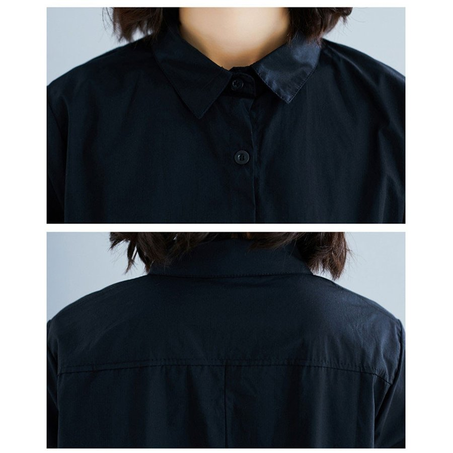 シャツ ロングシャツ 長袖 春 春物 重ね着 コーデ チュニック レディース トップス 無地 ボタン止め フレアシルエット 不規則裾 ゆったり コットン 着まわし fukumarufukumaru 13