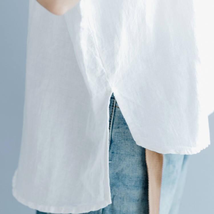シャツブラウス シャツ 夏 プルオーバー 無地 トップス ブラウス レディース ノースリーブ 綿 麻 スリット 体型カバー ゆったり カジュアル風 シンプル おしゃれ fukumarufukumaru 14