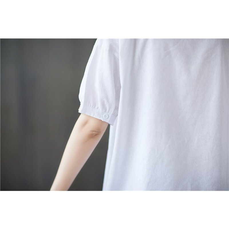 シャツ レディース 夏 シャツブラウス トップス 綿麻 無地 ゆったり 体型カバー ドロップショルダー 立ち襟 着痩せ 半袖 着まわし 新作 50代 40代 30代 20代|fukumarufukumaru|12