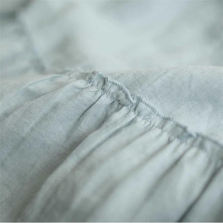 ブラウス シャツ トップス シャツブラウス プルオーバー レディース 5分袖 Uネック 無地 綿麻 フリル ギャザー フレア フレア袖 体型カバー ゆったり シンプル|fukumarufukumaru|12