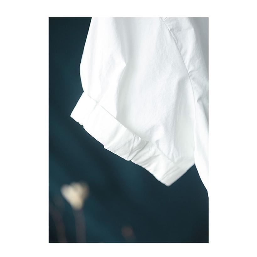 ブラウス シャツ トップス シャツブラウス レディース 春 夏 折り襟 コーデ 無地 半袖 綿 コットン 体型カバー ゆったり カジュアル風 シンプル 30代 40代 fukumarufukumaru 11