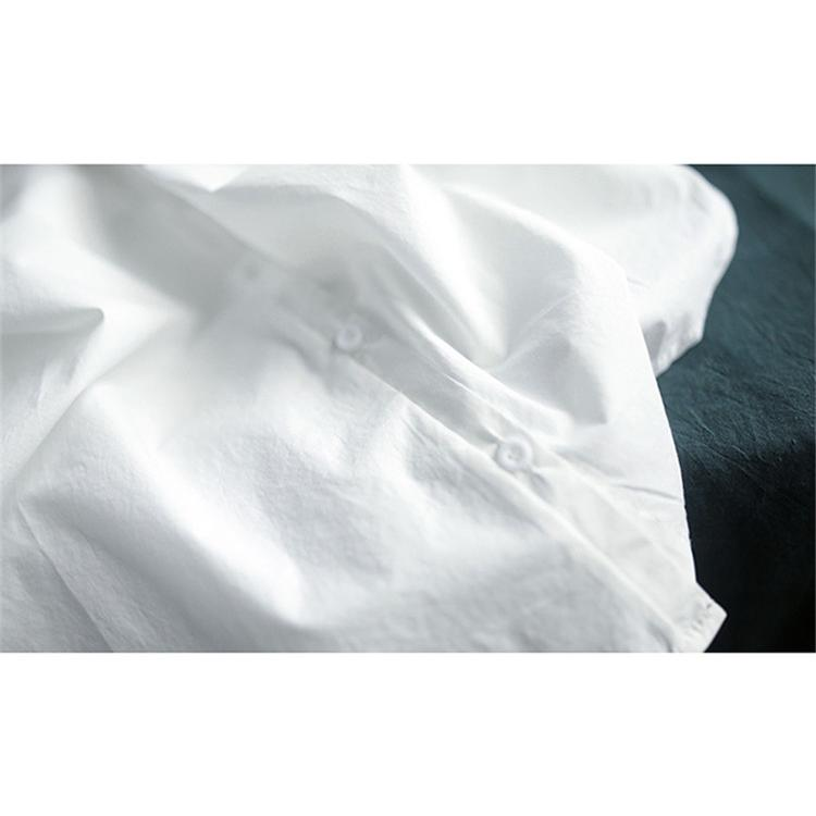 ブラウス シャツ トップス シャツブラウス レディース 春 夏 折り襟 コーデ 無地 半袖 綿 コットン 体型カバー ゆったり カジュアル風 シンプル 30代 40代 fukumarufukumaru 12