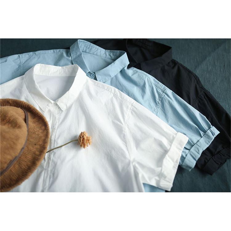 ブラウス シャツ トップス シャツブラウス レディース 春 夏 折り襟 コーデ 無地 半袖 綿 コットン 体型カバー ゆったり カジュアル風 シンプル 30代 40代 fukumarufukumaru 06