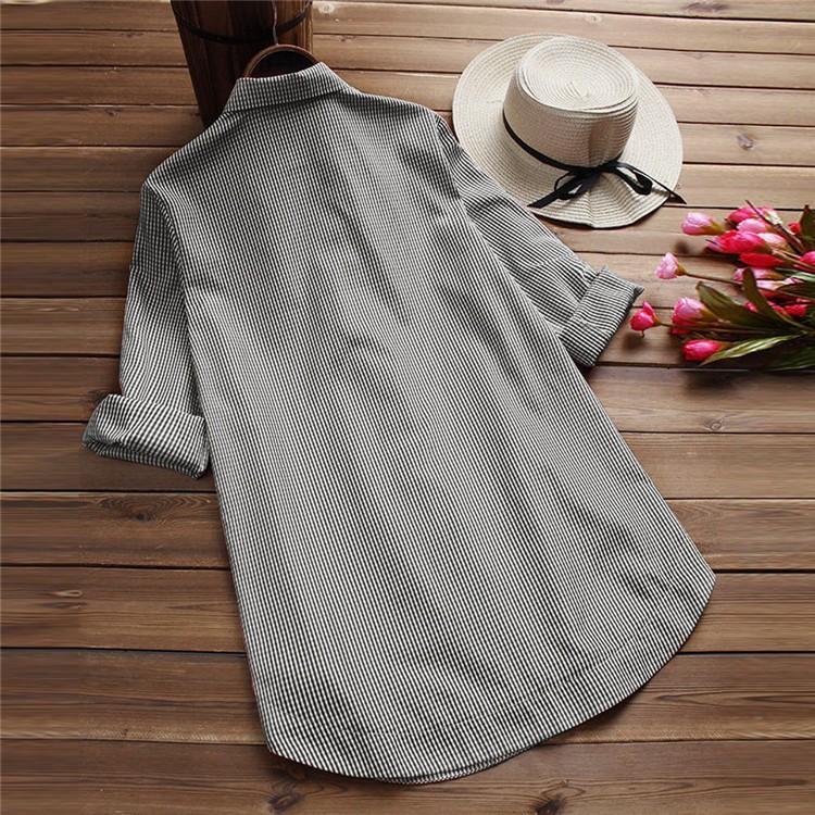 ブラウス シャツブラウス トップス ロングシャツ レディース ストライプ柄 チュニック 柄 チェック柄 体型カバー 長袖 大きいサイズ アウター シンプル きれい|fukumarufukumaru|07