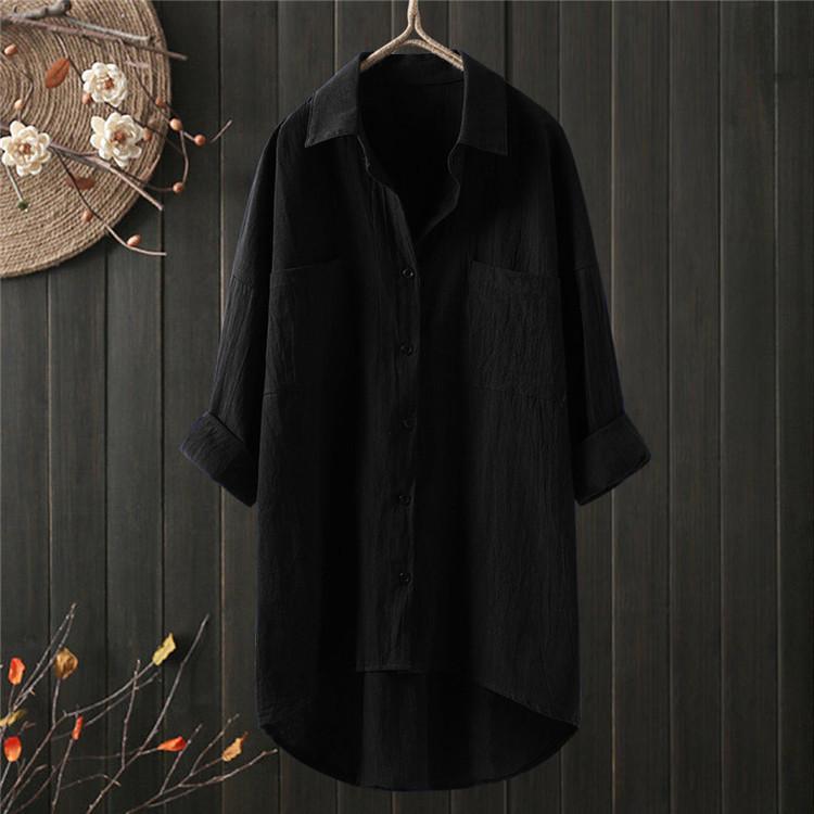 ロングシャツ ブラウス シャツ トップス シャツブラウス レディース チュニック ロング 折り襟 綿麻 長袖 無地 ポケット 体型カバー ゆったり シンプル 30代|fukumarufukumaru|02