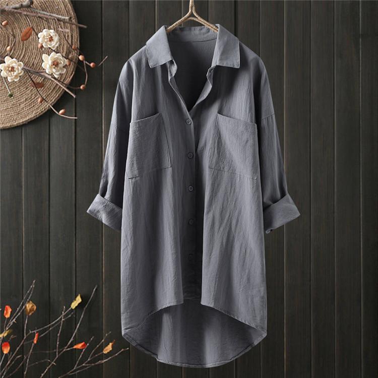 ロングシャツ ブラウス シャツ トップス シャツブラウス レディース チュニック ロング 折り襟 綿麻 長袖 無地 ポケット 体型カバー ゆったり シンプル 30代|fukumarufukumaru|05