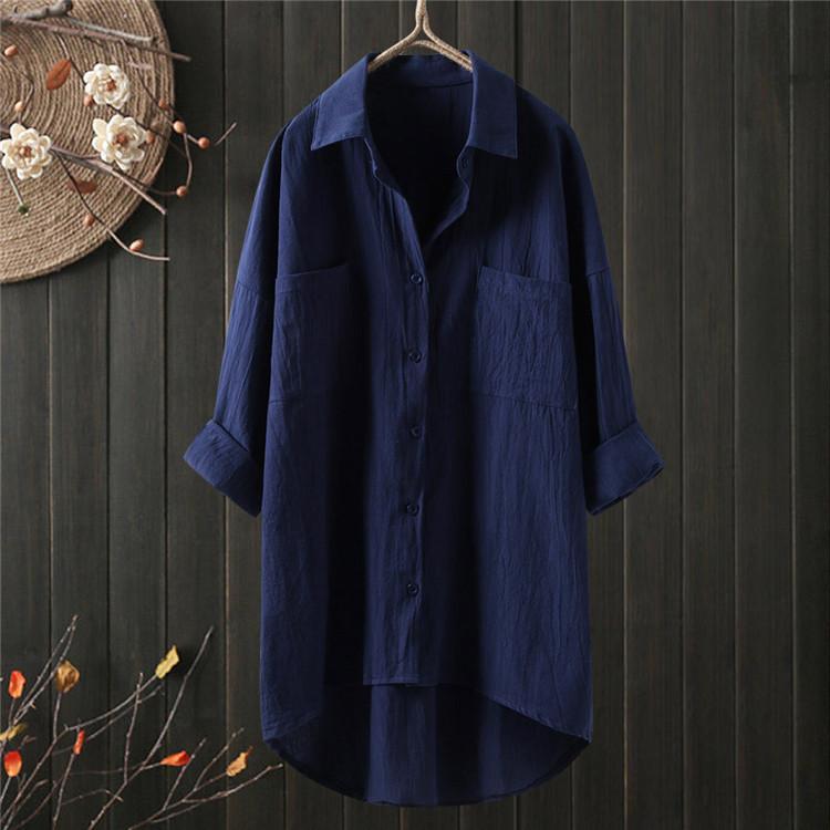 ロングシャツ ブラウス シャツ トップス シャツブラウス レディース チュニック ロング 折り襟 綿麻 長袖 無地 ポケット 体型カバー ゆったり シンプル 30代|fukumarufukumaru|07