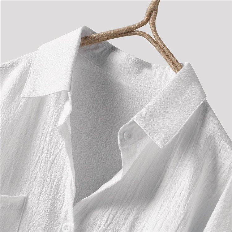ロングシャツ ブラウス シャツ トップス シャツブラウス レディース チュニック ロング 折り襟 綿麻 長袖 無地 ポケット 体型カバー ゆったり シンプル 30代|fukumarufukumaru|09