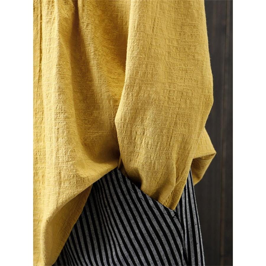 ブラウス 長袖 トップス プルオーバー レディース 夏 シャツ 春 40代 無地 チュニック Uネック リネン 綿麻 ゆったり 大きいサイズ カットソー サイズお揃い|fukumarufukumaru|07