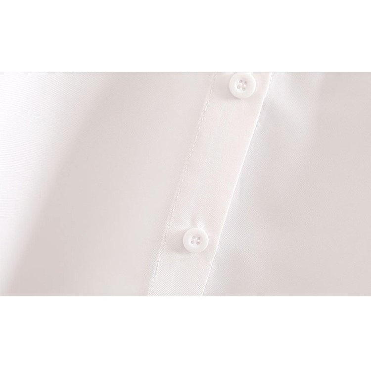 白シャツ レディース トップス ブラウス シャツ 折り襟 長袖 花柄 綿 コットン 前開き 刺繍 シャツブラウス コーデ 春 カジュアル 快適 ベーシック 着痩せ 30代 fukumarufukumaru 12