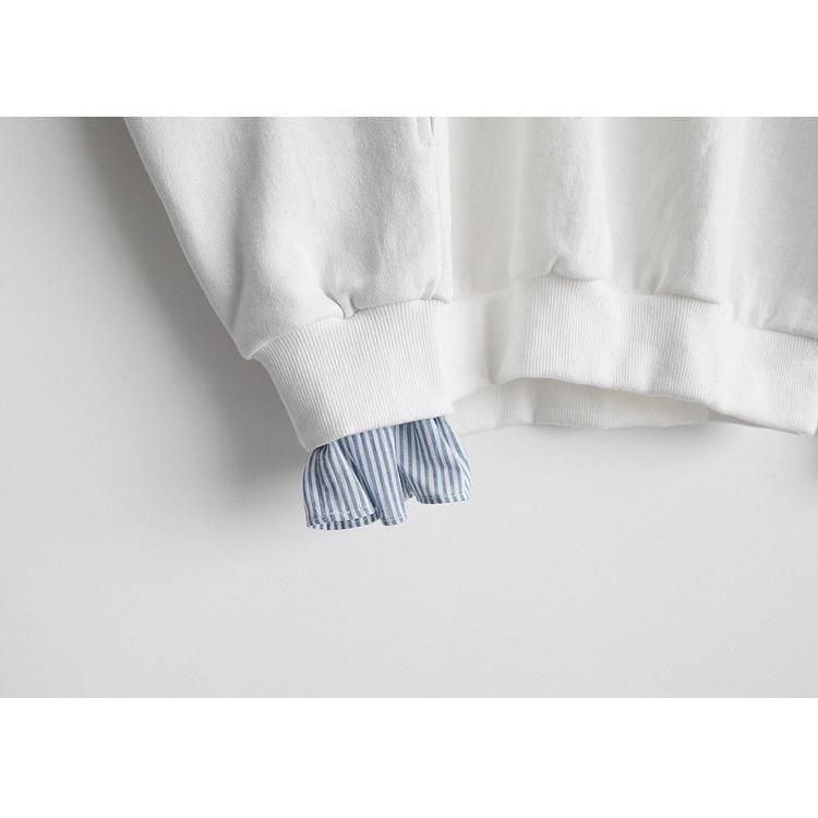 Tシャツ 春 トップス ブラウス プルオーバー レディース フェイクレイヤード コーデ Uネック 2色スプライス 長袖 柄 シンプル ゆったり きれいめ 通気性 30代|fukumarufukumaru|12