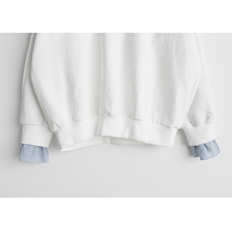 Tシャツ 春 トップス ブラウス プルオーバー レディース フェイクレイヤード コーデ Uネック 2色スプライス 長袖 柄 シンプル ゆったり きれいめ 通気性 30代|fukumarufukumaru|13