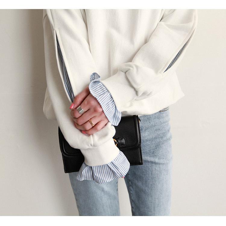 Tシャツ 春 トップス ブラウス プルオーバー レディース フェイクレイヤード コーデ Uネック 2色スプライス 長袖 柄 シンプル ゆったり きれいめ 通気性 30代|fukumarufukumaru|04
