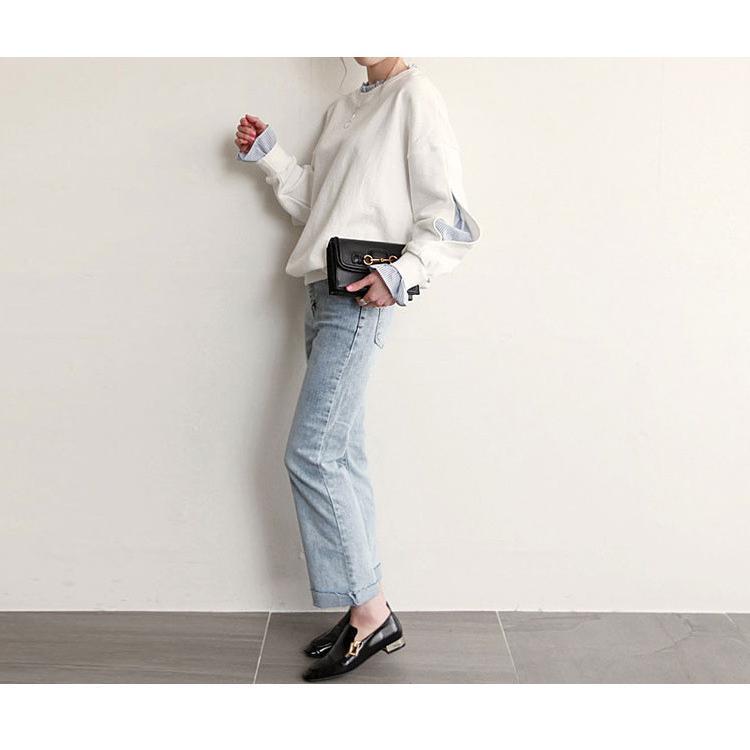 Tシャツ 春 トップス ブラウス プルオーバー レディース フェイクレイヤード コーデ Uネック 2色スプライス 長袖 柄 シンプル ゆったり きれいめ 通気性 30代|fukumarufukumaru|08