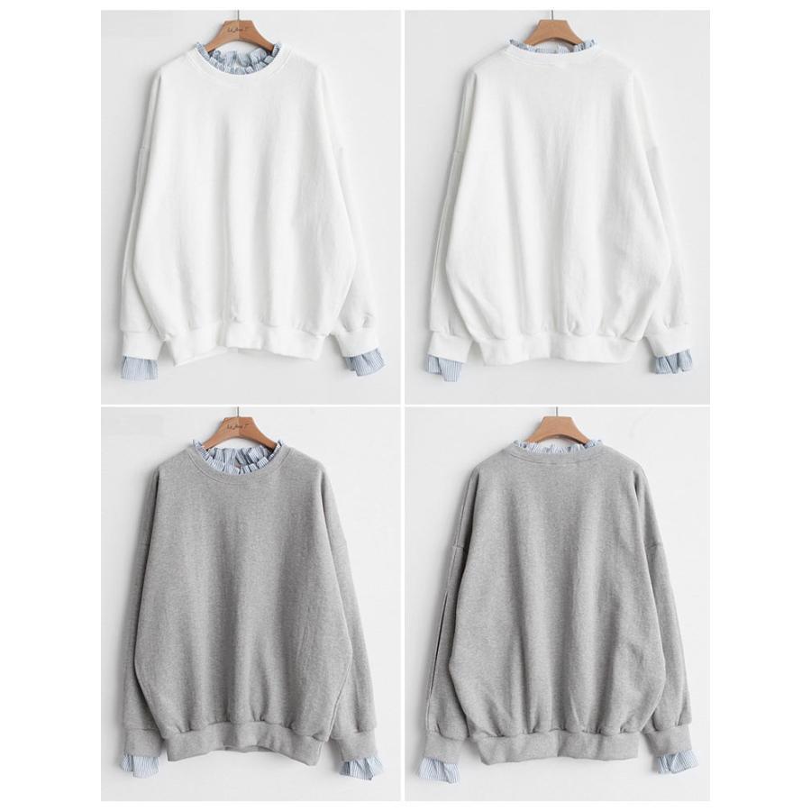 Tシャツ 春 トップス ブラウス プルオーバー レディース フェイクレイヤード コーデ Uネック 2色スプライス 長袖 柄 シンプル ゆったり きれいめ 通気性 30代|fukumarufukumaru|10