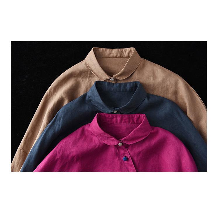 送料無料 シャツ 綿麻シャツ シャツブラウス トップス レディース ブラウス 前開き 40代 無地 折り襟 体型カバー 長袖 亜麻 麻 アウター シンプル きれいめ 30代|fukumarufukumaru|20