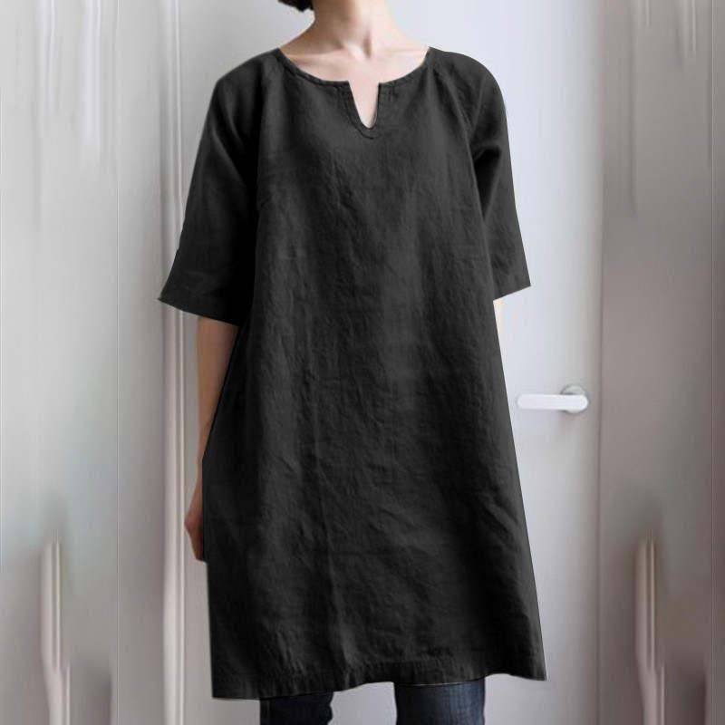 チュニック ロングシャツ ワンピース レディース プルオーバー 綿麻 トップス 半袖 大きいサイズ ゆったり 体型カバー fukumarufukumaru 02