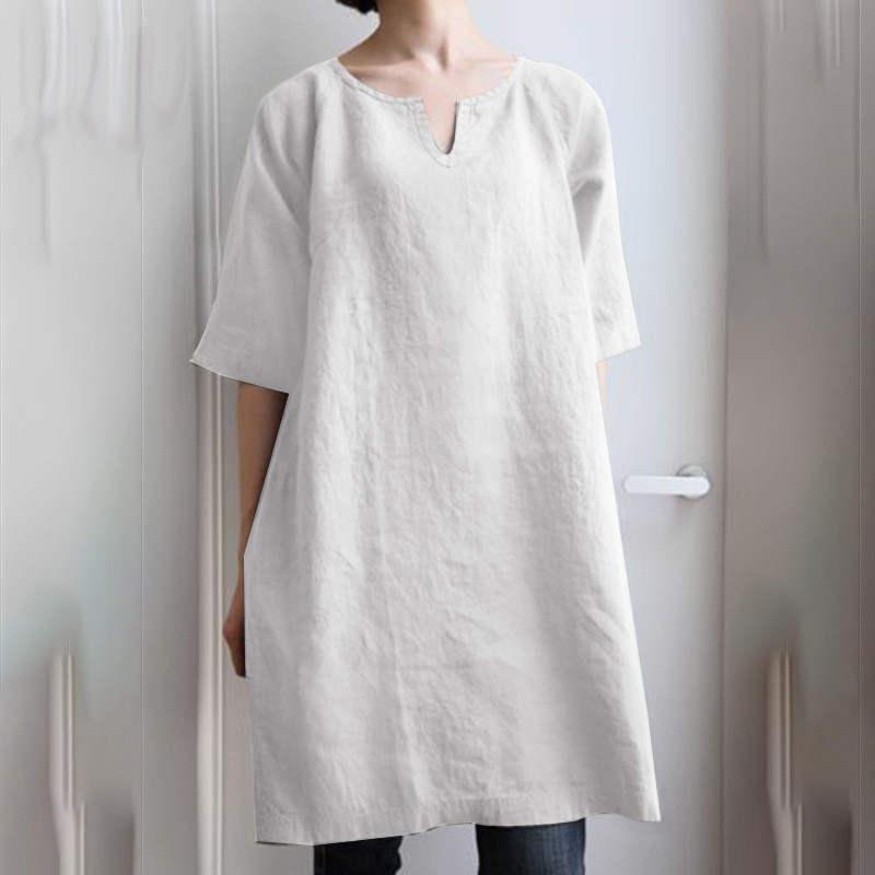 チュニック ロングシャツ ワンピース レディース プルオーバー 綿麻 トップス 半袖 大きいサイズ ゆったり 体型カバー fukumarufukumaru 04