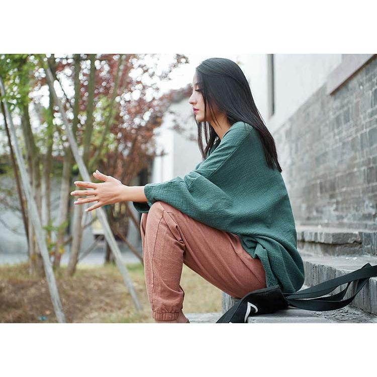 tシャツ 長袖 秋新作 レディース Tシャツ ブラウス 綿麻 ドルマンスタイル トップス 体型カバー 着痩せ Vネック カジュアル 無地 シンプル 着心地|fukumarufukumaru|09