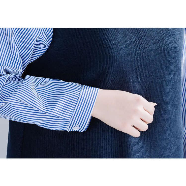 ブラウス シャツブラウス レディース トップス 長袖 ドッキング 折り襟 デザイン 重ね着 ストライプ柄 ニットソー オシャレ きれい 秋 秋物 新作|fukumarufukumaru|12