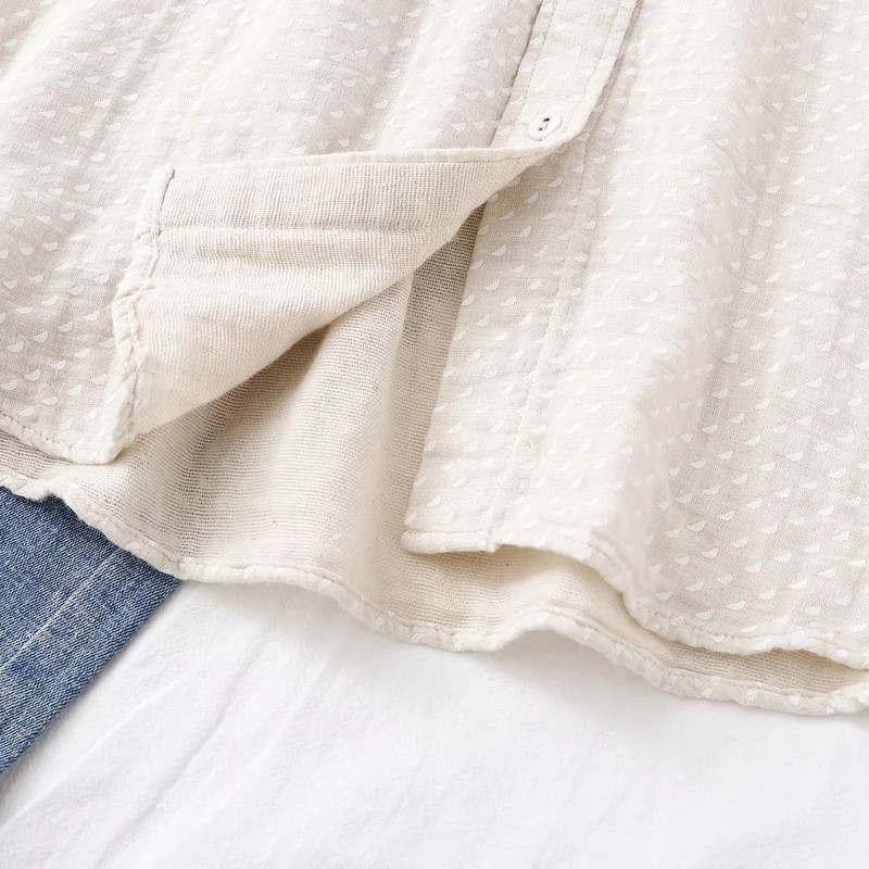 短納期 シャツ 長袖 トップス ガーゼ レディース 秋 コットン 綿 ガーゼシャツ シャツブラウス 通気性 シンプル 折襟 ボタン留め 大きいサイズ 着心地いい fukumarufukumaru 08
